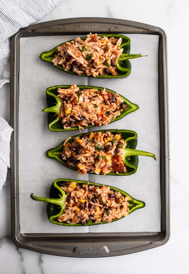 Stuffed Poblano Peppers prepped.