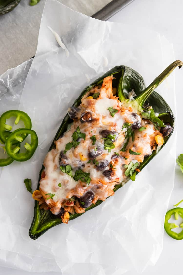 Stuffed poblano with jalapenos, black beans and melted cheese.