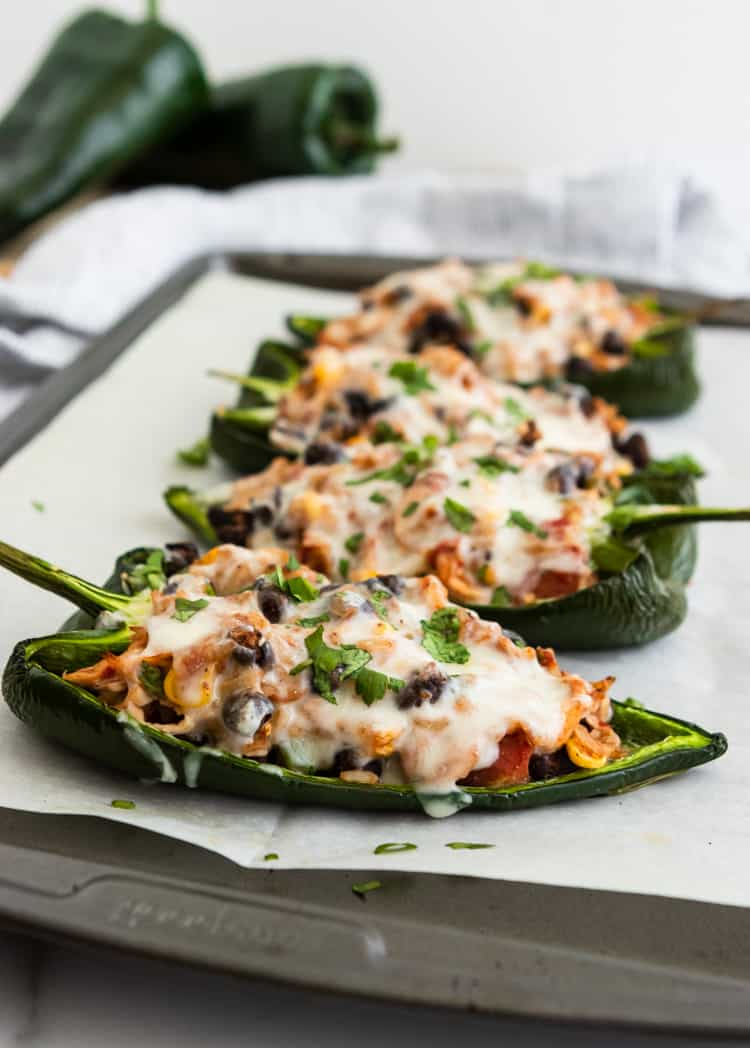 Easy Chicken Stuffed Poblano Peppers on sheet pan.