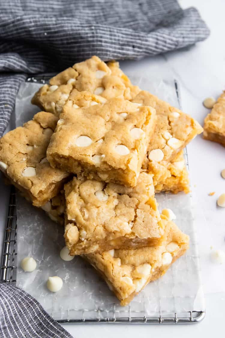 Gluten Free Blondies with White Chocolate Chips.