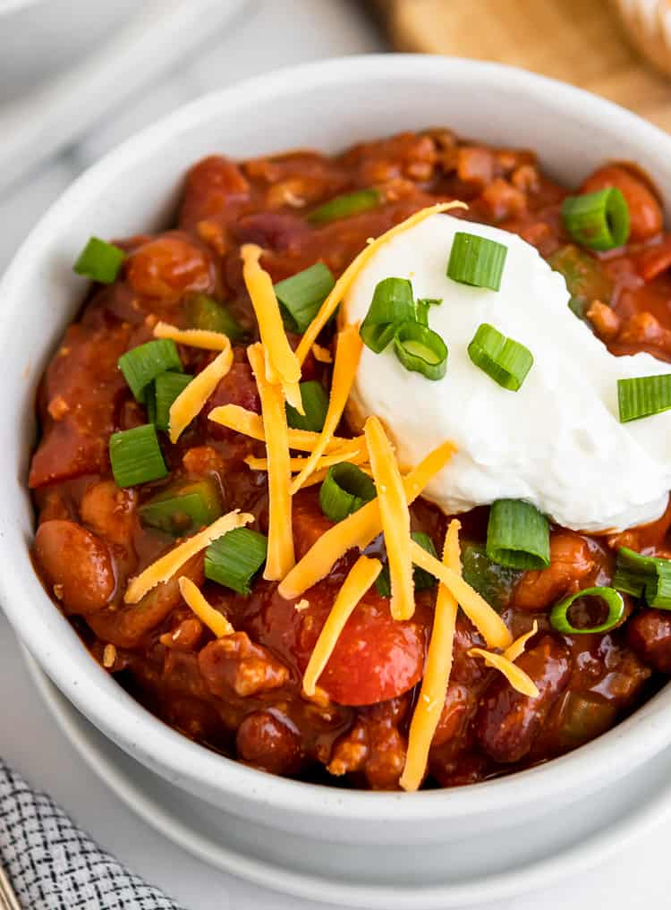 Close up view of turkey chili.