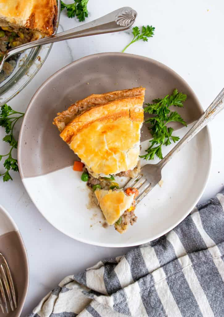 Beef pot pie with fork.
