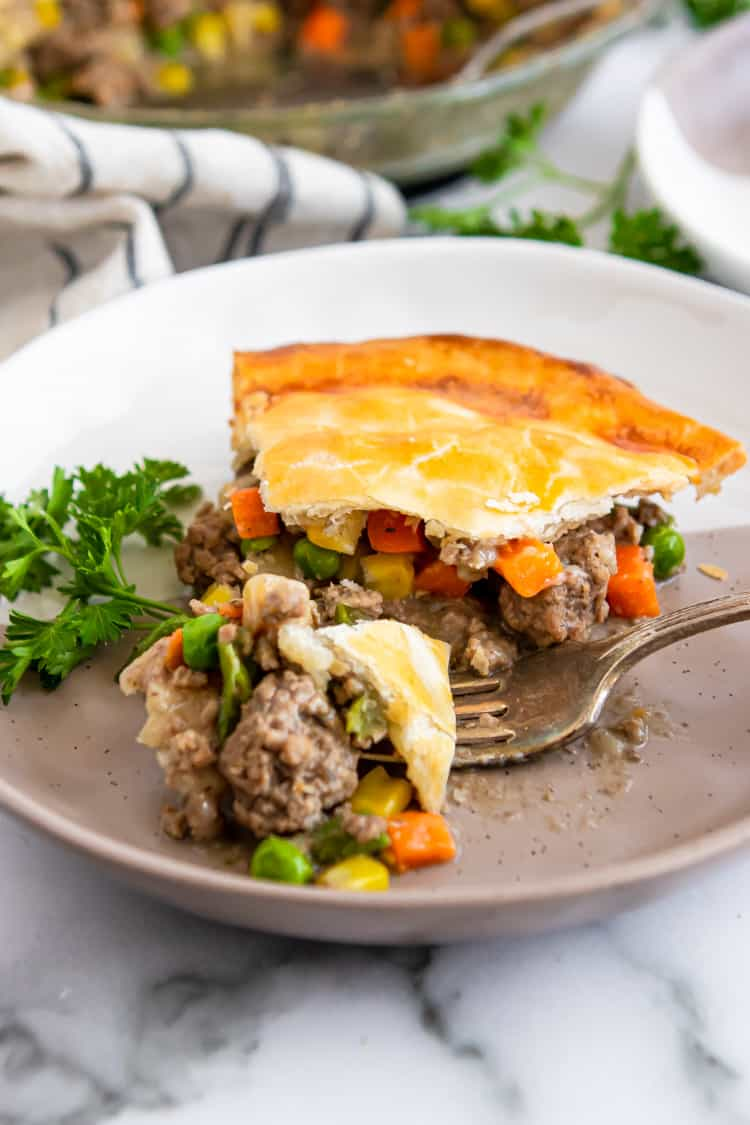 Forkful of pot pie on plate.