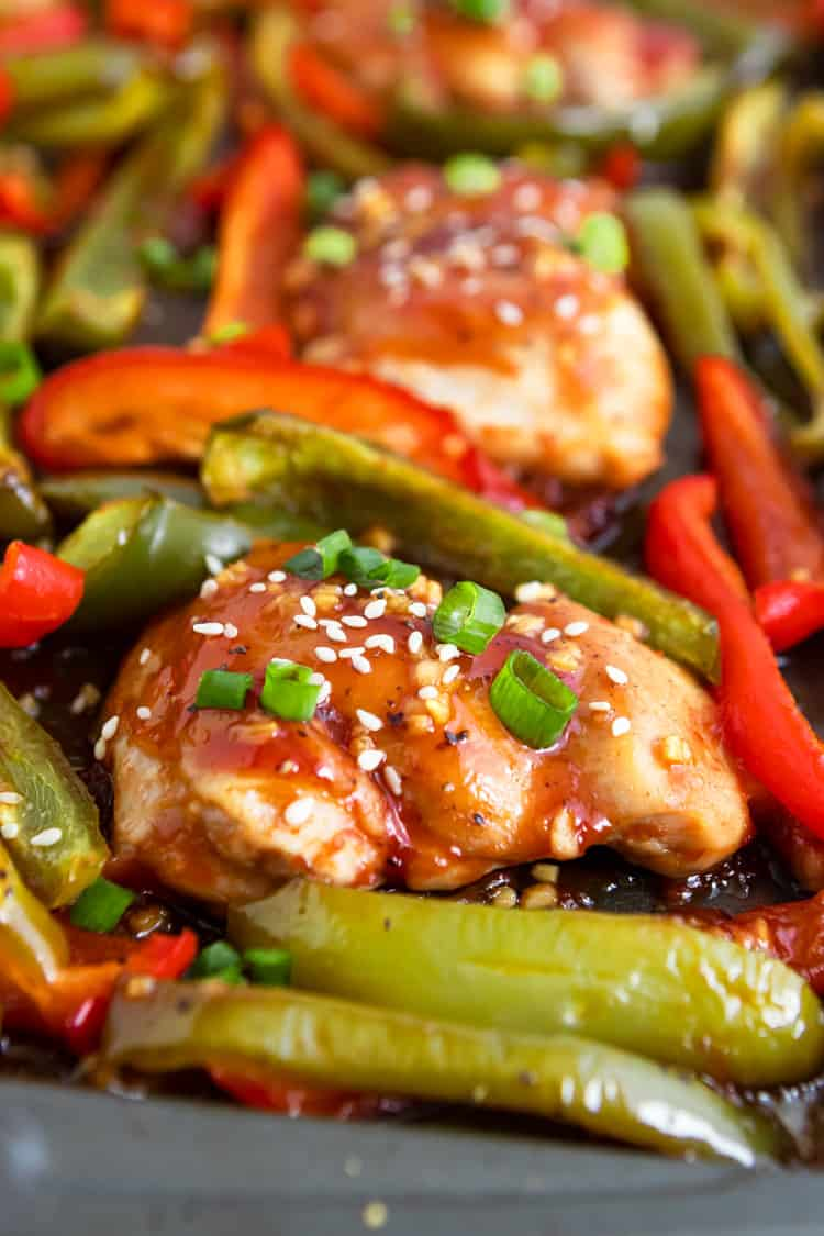 Honey Garlic Chicken Thigh with Peppers.