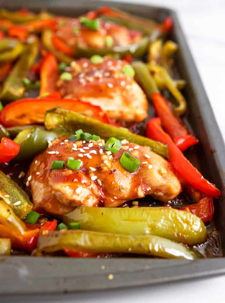 Chicken sheet pan dinner with peppers.