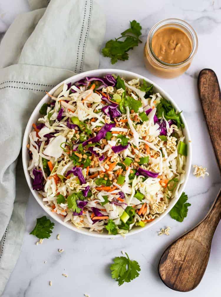 Overhead view of chopped cabbage salad.