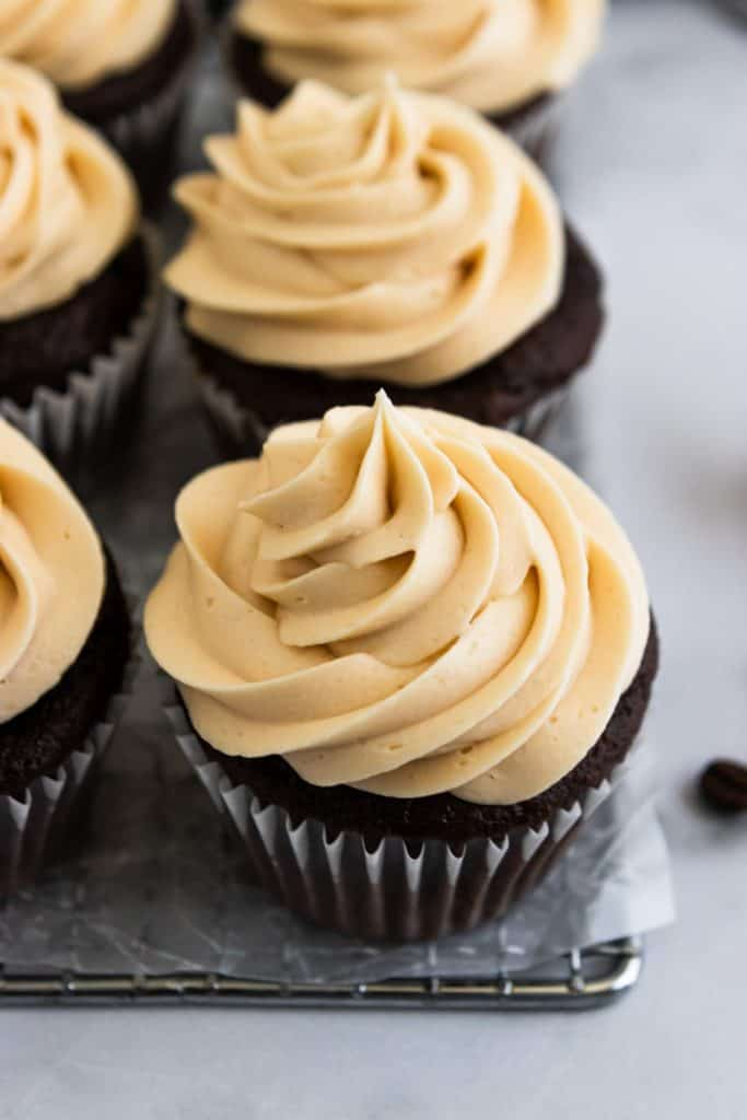 Mocha Cupcakes with Salted Caramel Buttercream Frosting