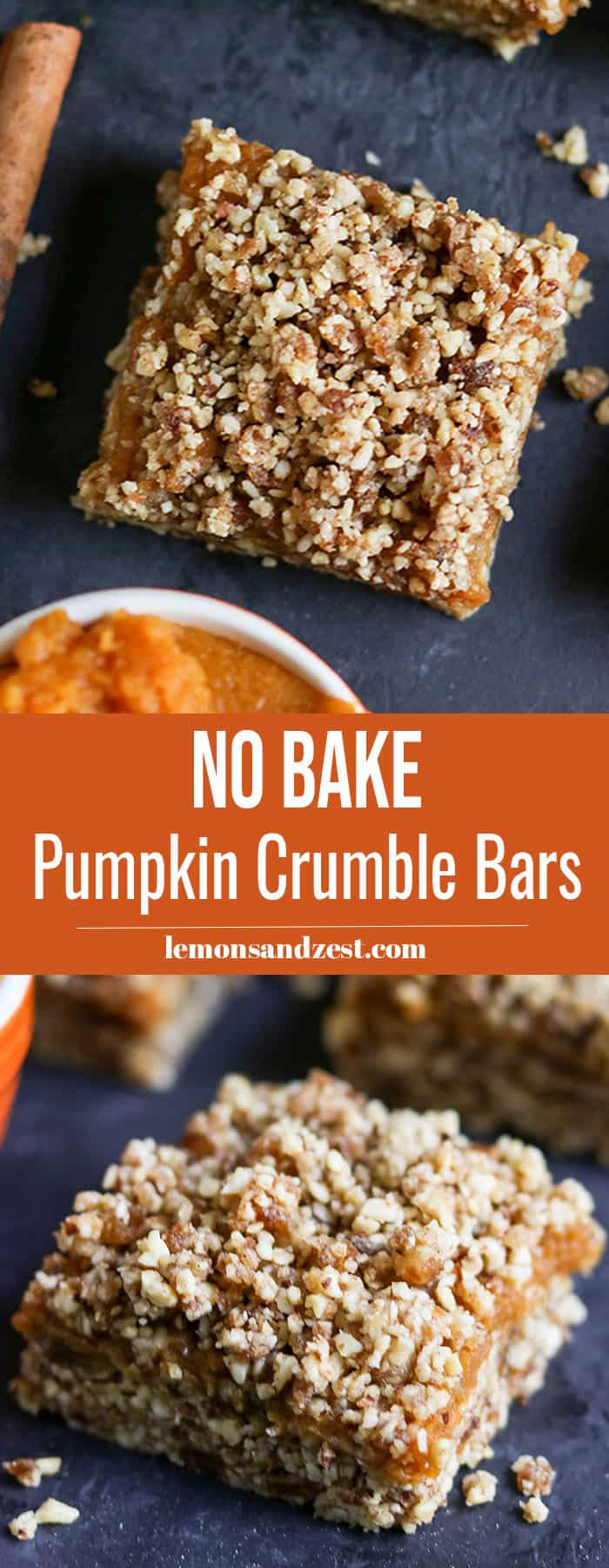 No Bake Pumpkin Crumble Bars Pin.