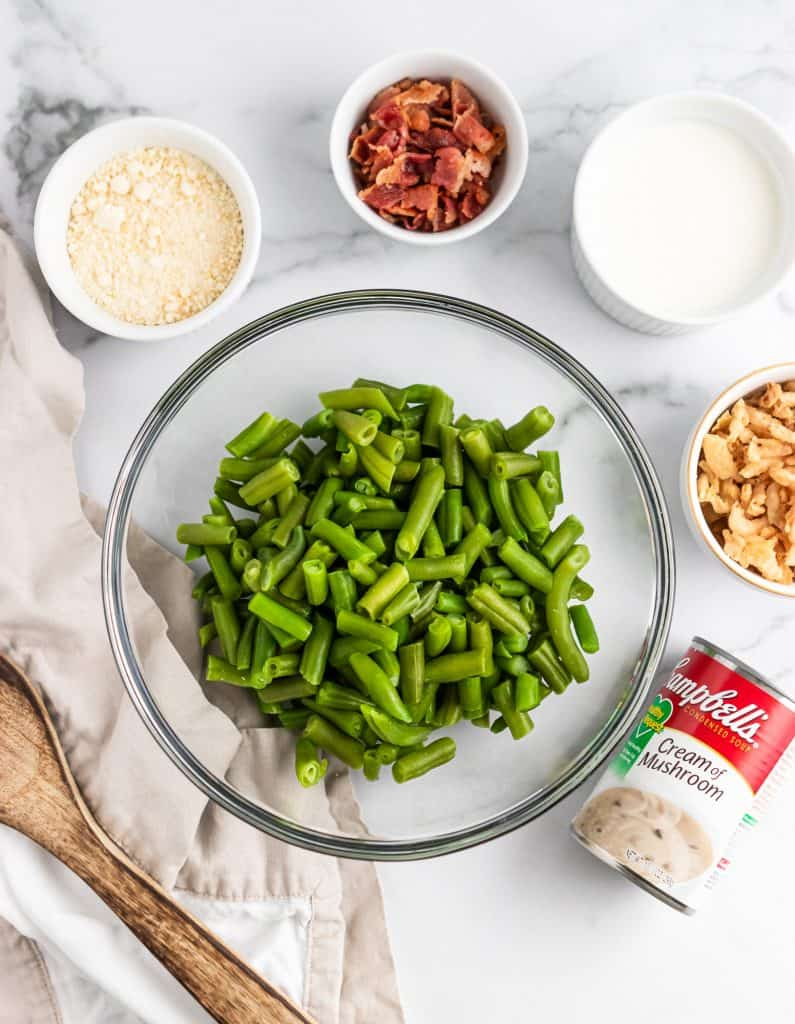 Ingredients for Parmesan Bacon Green Bean Casserole.