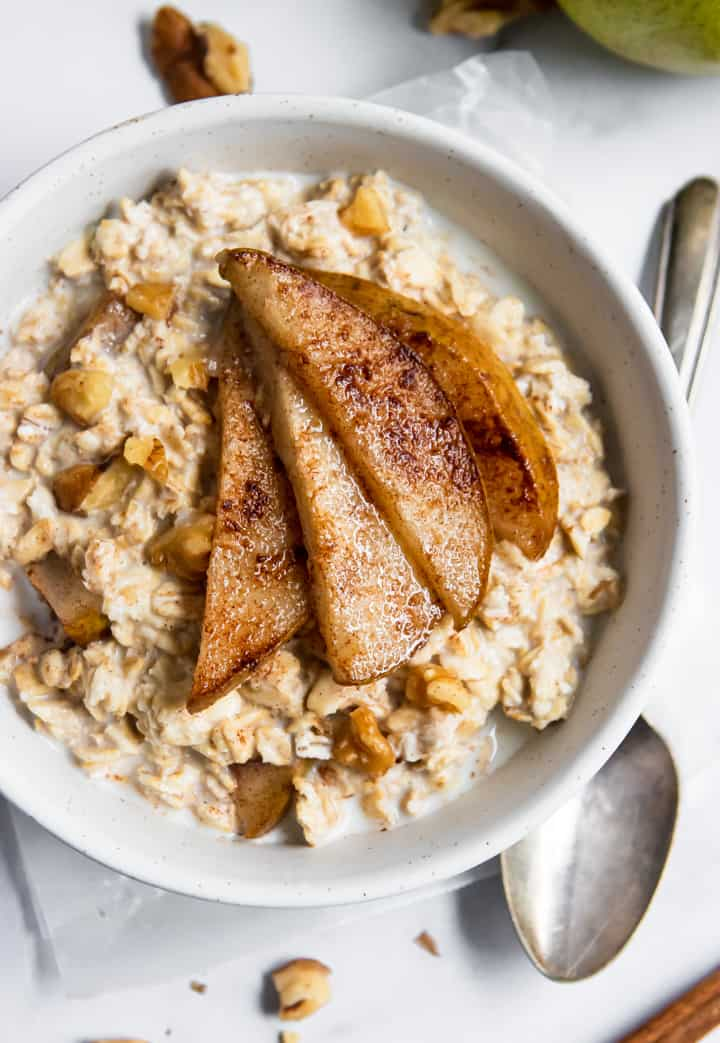 Spiced Pear Oatmeal in bowl.