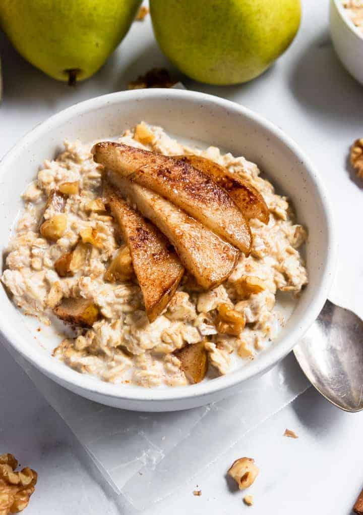 Spiced pear oatmeal with walnuts.