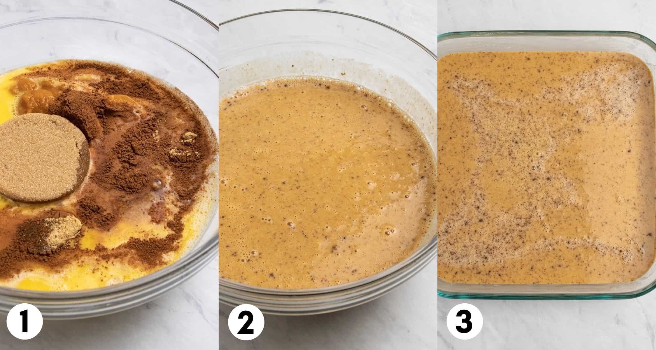 Eggs, pumpkin, milk and other ingredients in mixing bowl and then in baking dish.