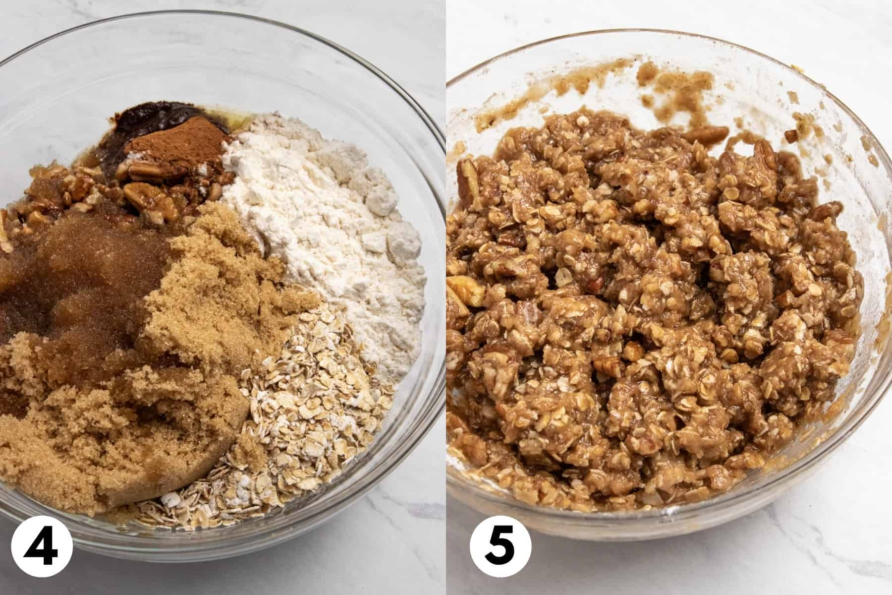 Oats, butter, flour and other ingredients in mixing bowl.