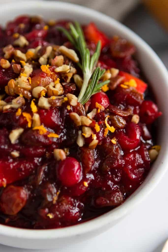 Balsamic Cranberry Chutney with Orange zest, pecans, and rosemary.