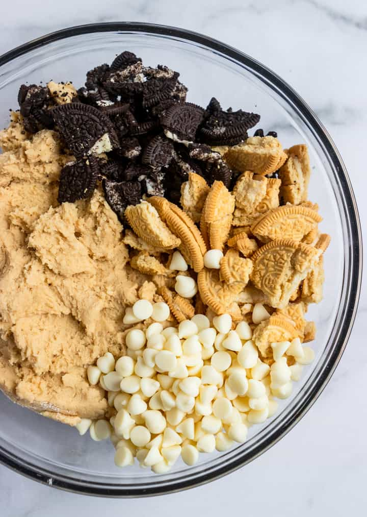 Cookies and Cream cookies ingredients in bowl.