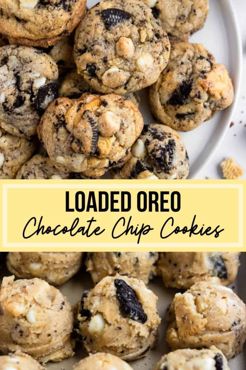 Oreo chip cookie dough and cookies on white plate.