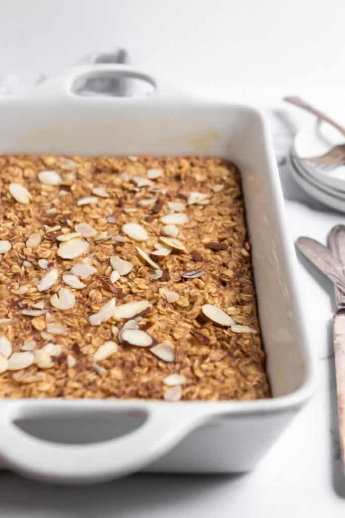 Baked oatmeal in baking pan.