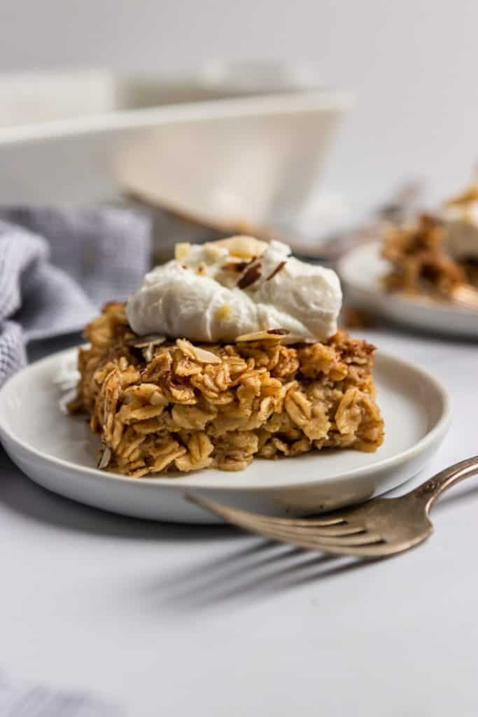 Piece of Banana Bread Baked Oatmeal on plate.