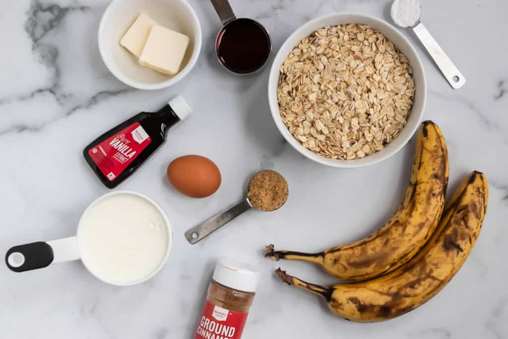 Ingredients to make Banana Bread Baked Oatmeal.