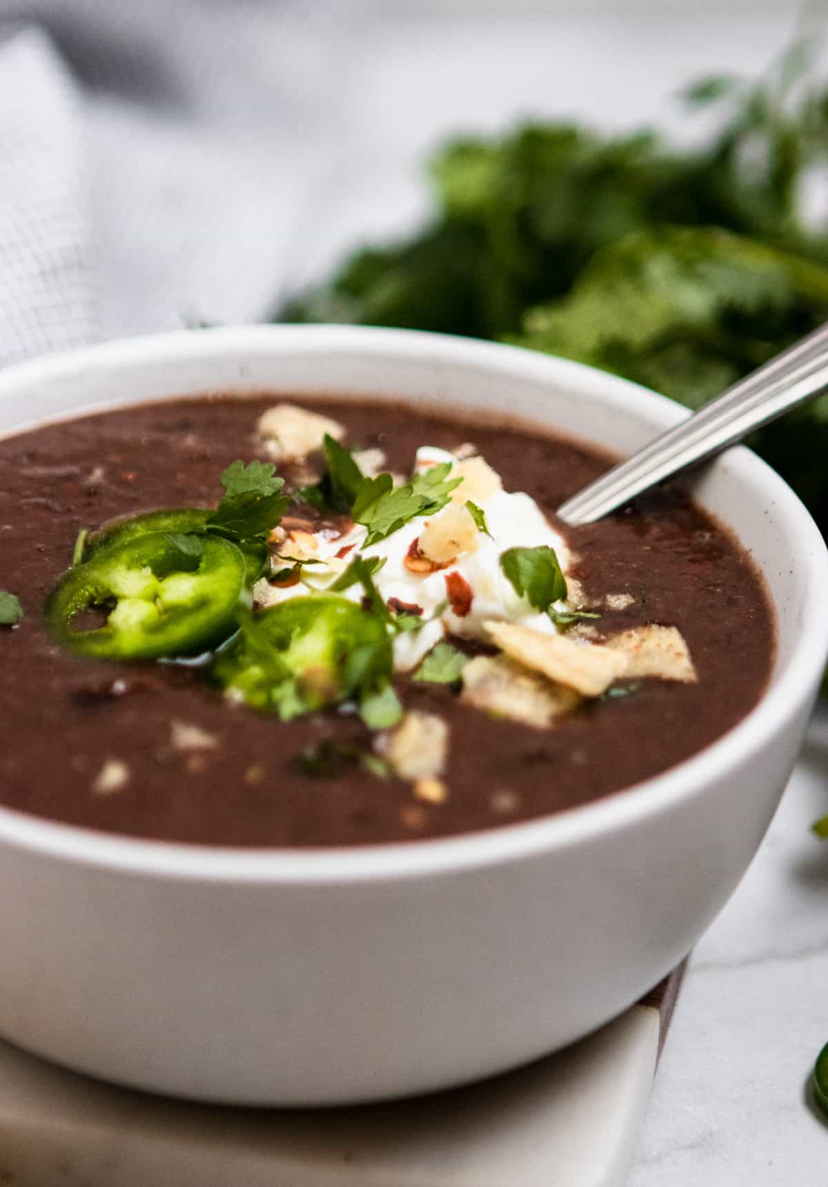 Bowl of Black Bean Soup with jalapenos, sour cream and cilantro.