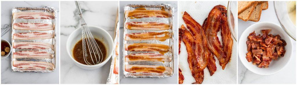 Steps to make maple bacon.