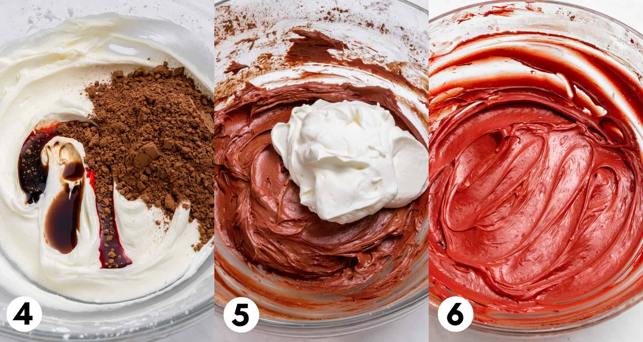Food coloring and cocoa powder in mixing bowl with cream cheese.