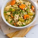 Rotisserie chicken noodle soup in bowl.
