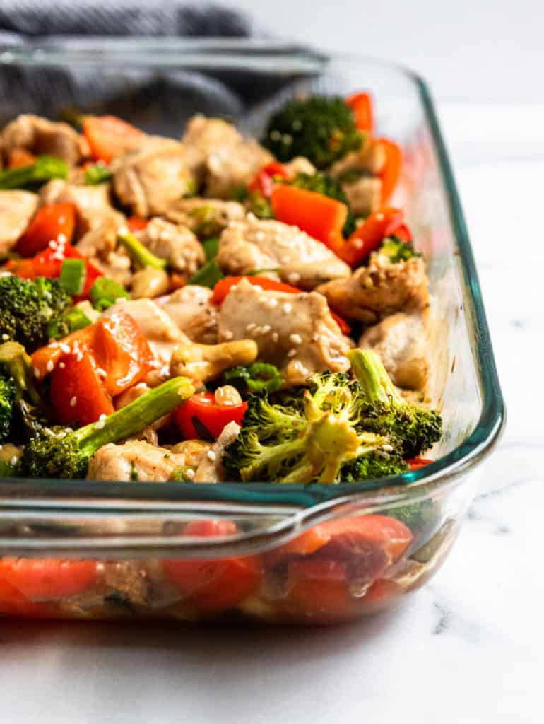 Cashew chicken in pan with vegetables.