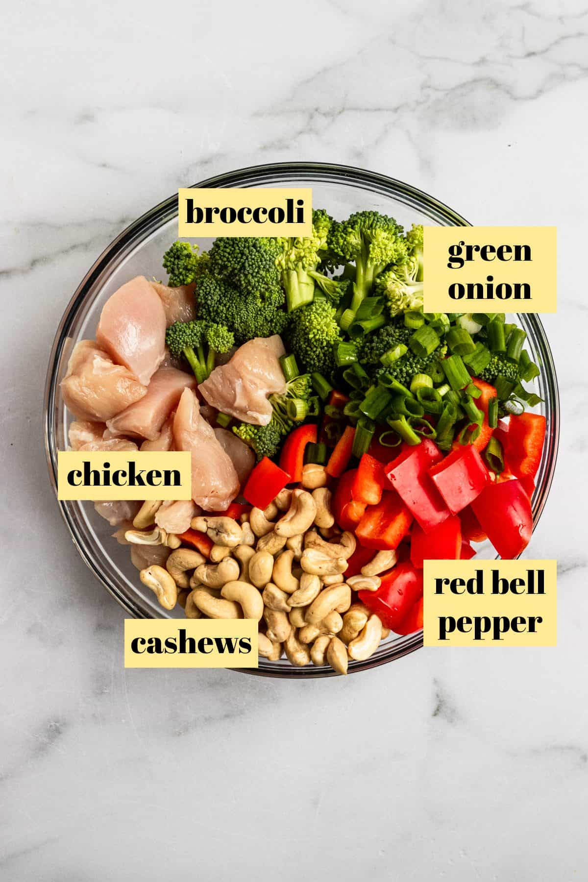 Ingredients included in baked cashew chicken.