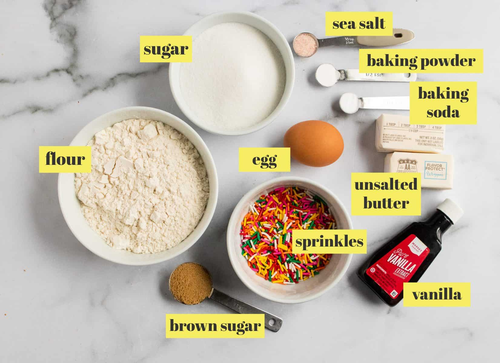 Ingredients to make cookie recipe