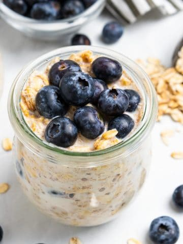 Blueberry muffin overnight oatmeal in jar.