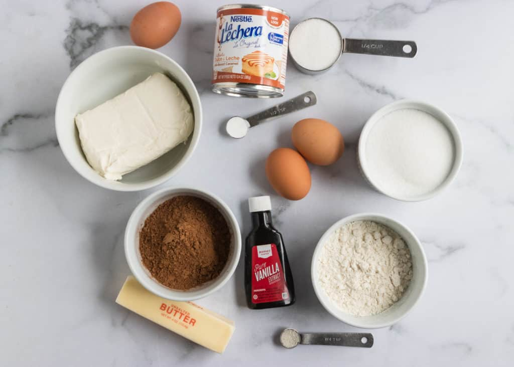 Ingredients needed to make brownie recipe.