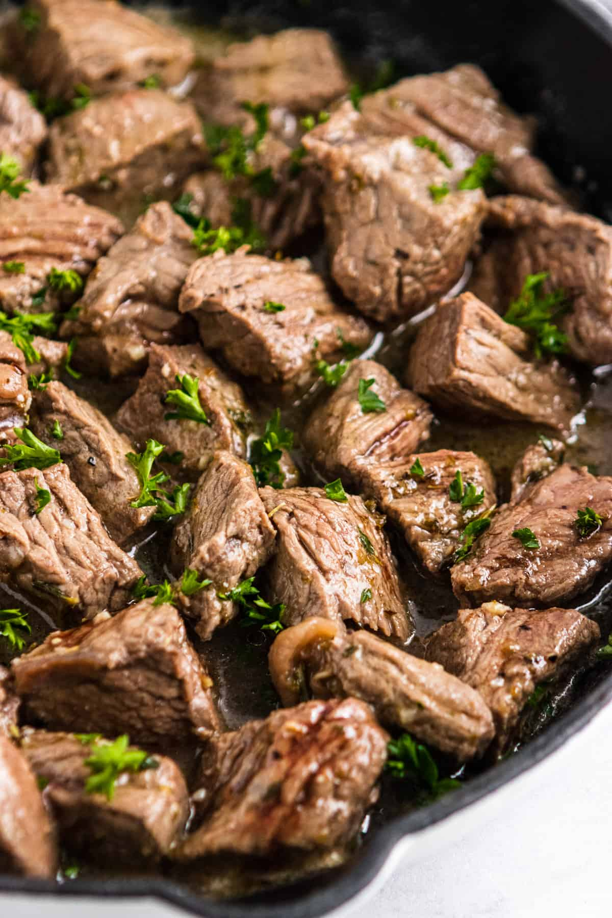 Close up of steak bites recipe.