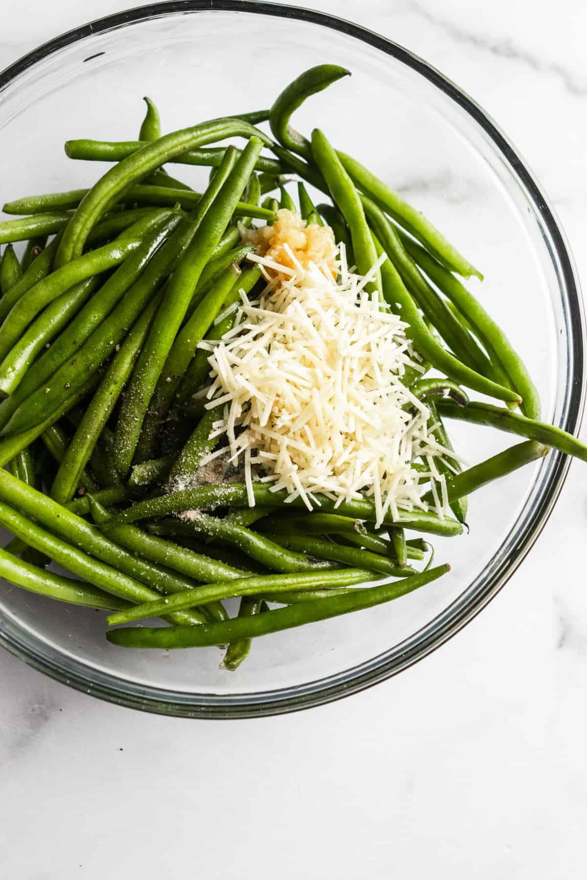 Ingredients to make parmesan green beans.