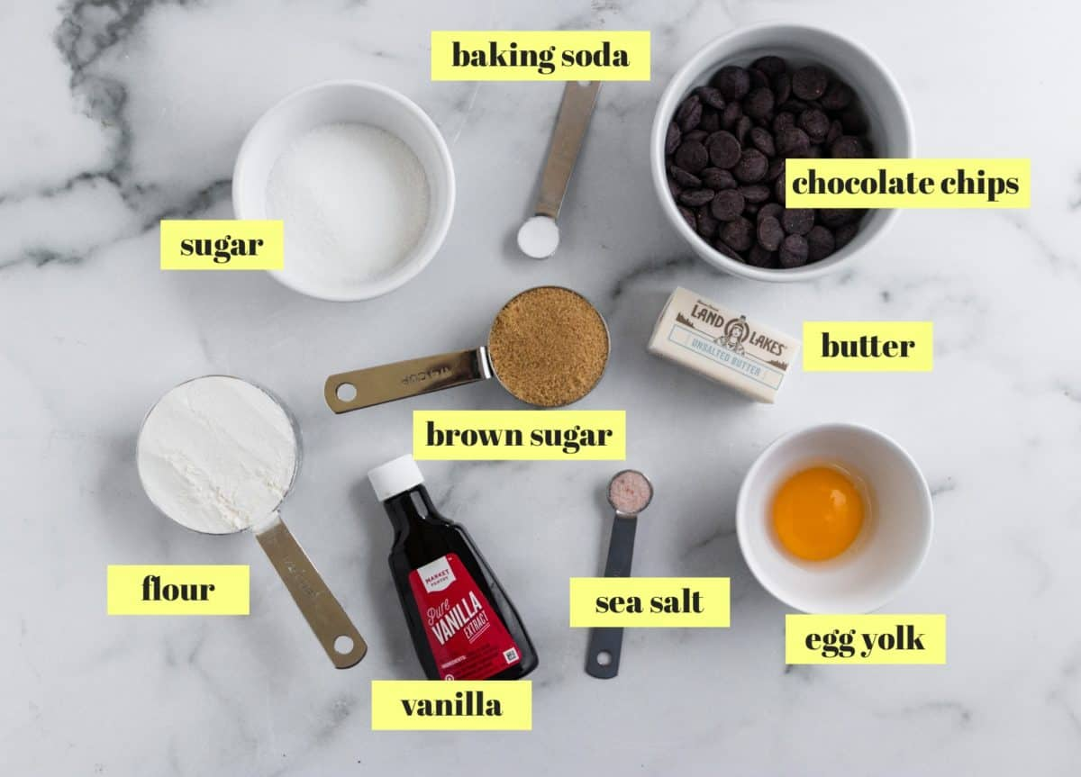 Ingredients to make chocolate chip cookies.