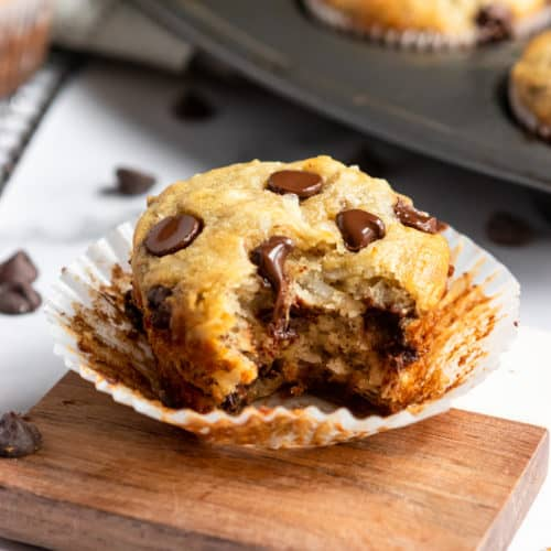 Banana Coconut Muffins with bite taken.