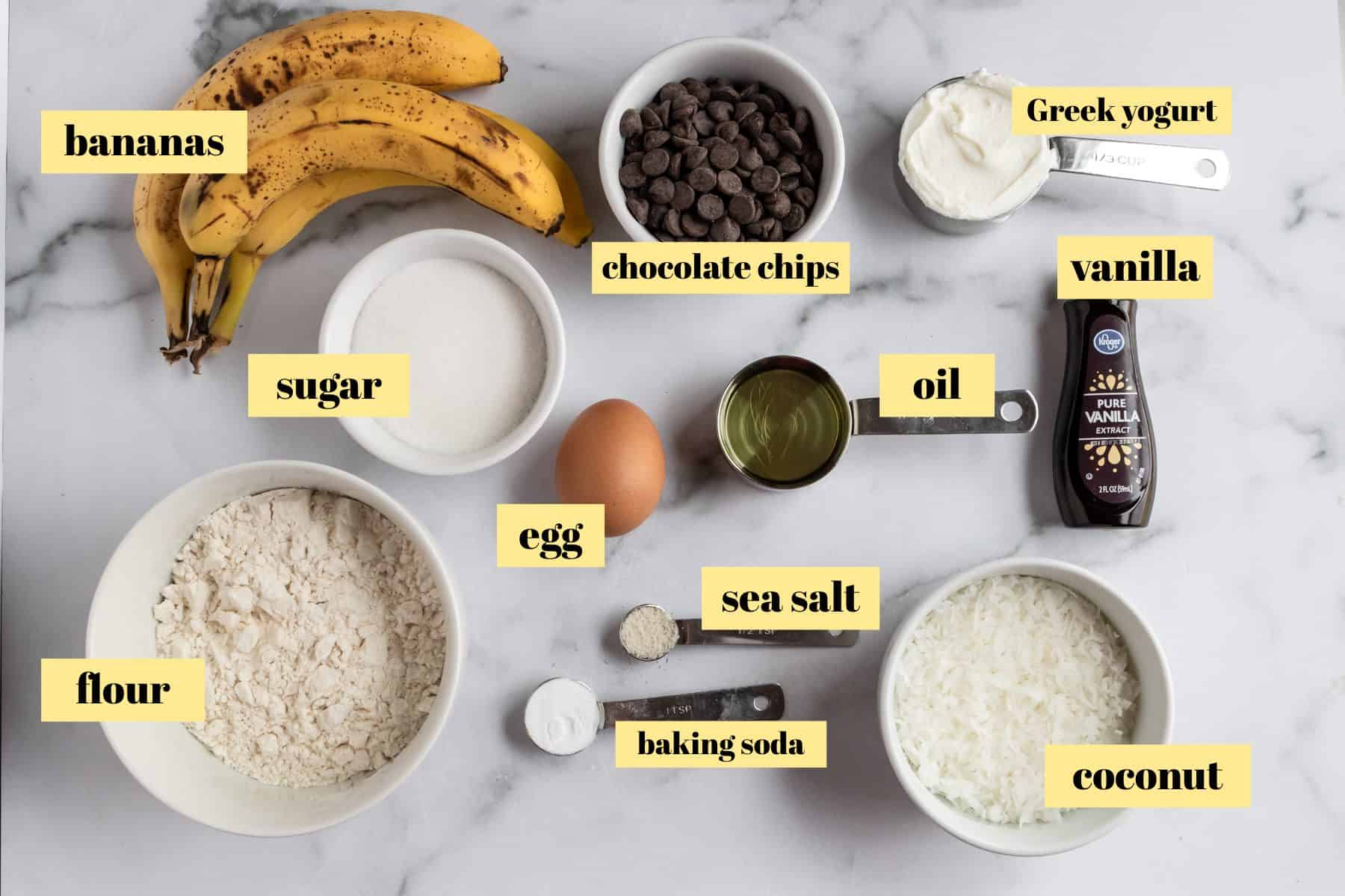 Ingredients to make muffin recipe.