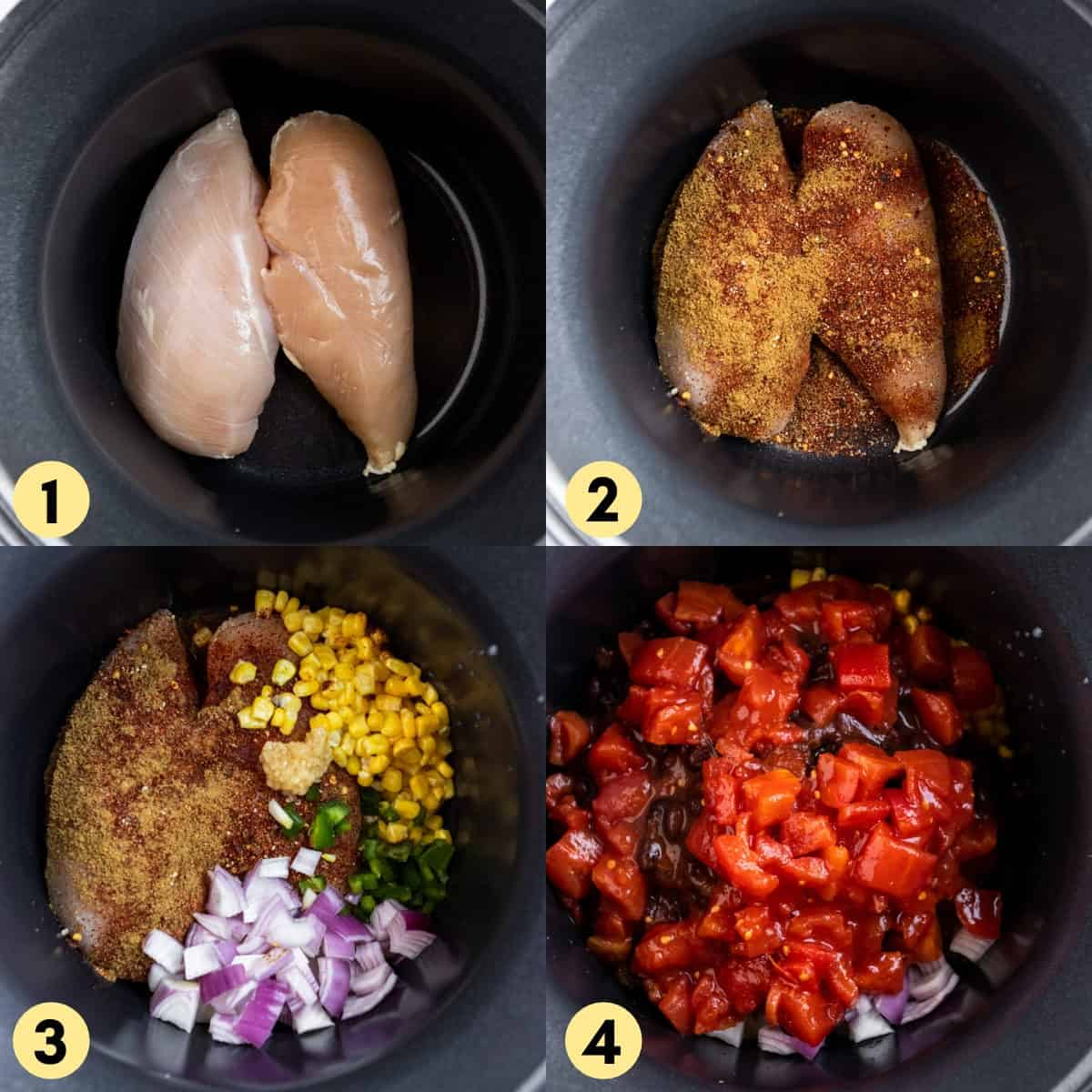 Process photos to make recipe: chicken and ingredients in slow cooker.