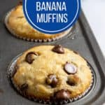Muffins with chocolate chips in muffin tin.