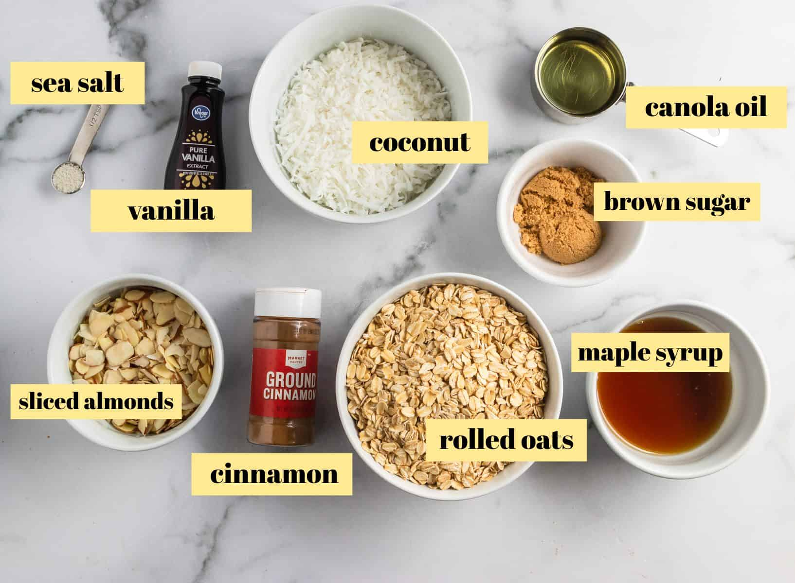 Ingredients to make basic granola.