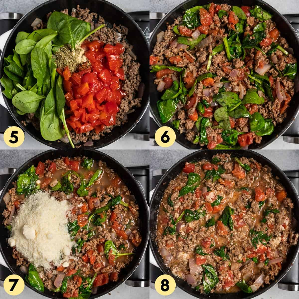 Process photos showing addition of spinach, tomatoes, parmesan to beef skillet.