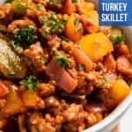 Bowl of turkey pepper dinner.