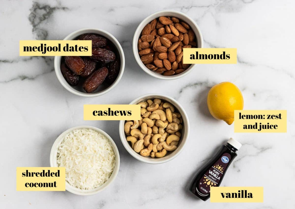 Ingredients to make lemon coconut bars.