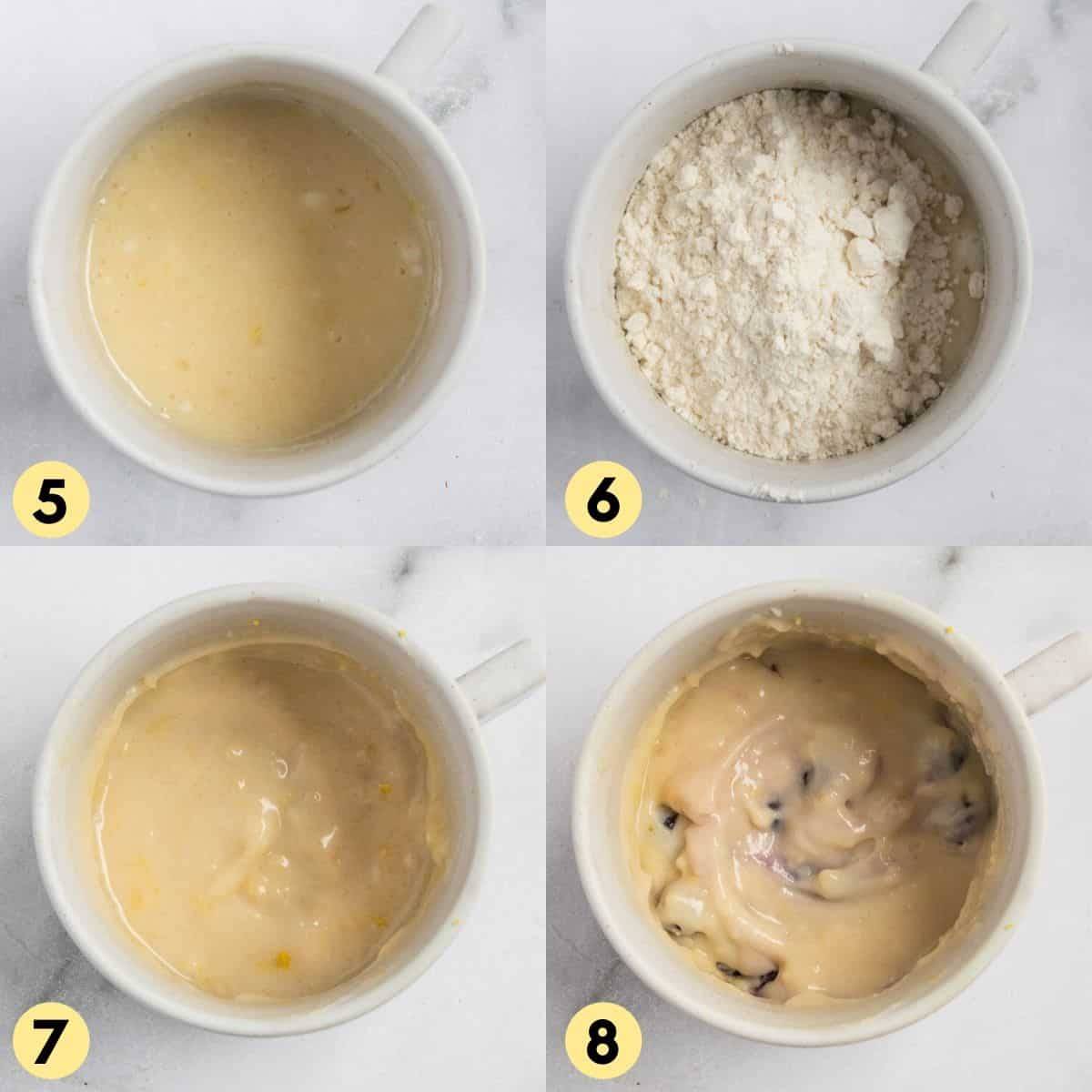 Process photos for mug cake with flour and blueberries added.