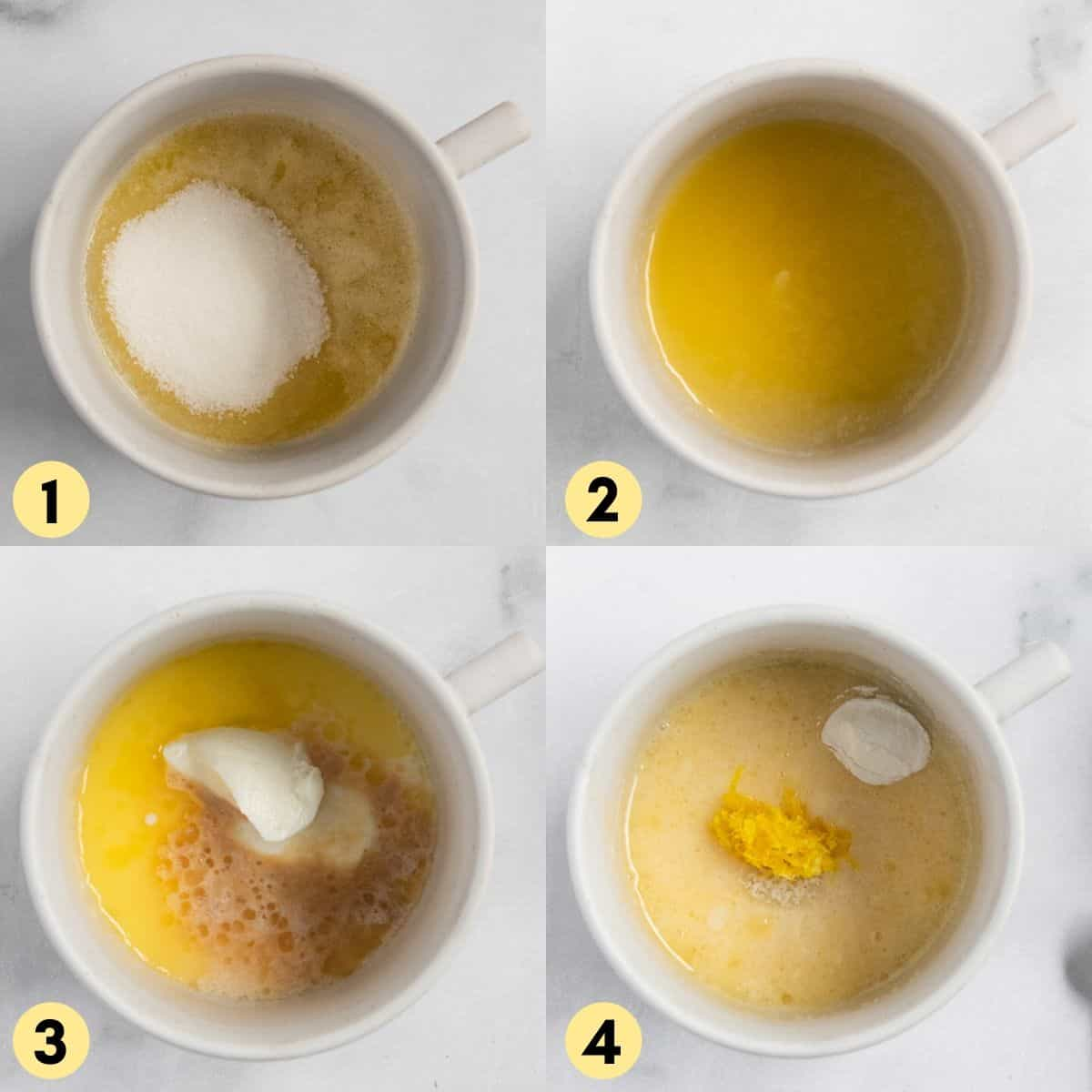 Butter and sugar in mug and added vanilla, milk and yogurt.