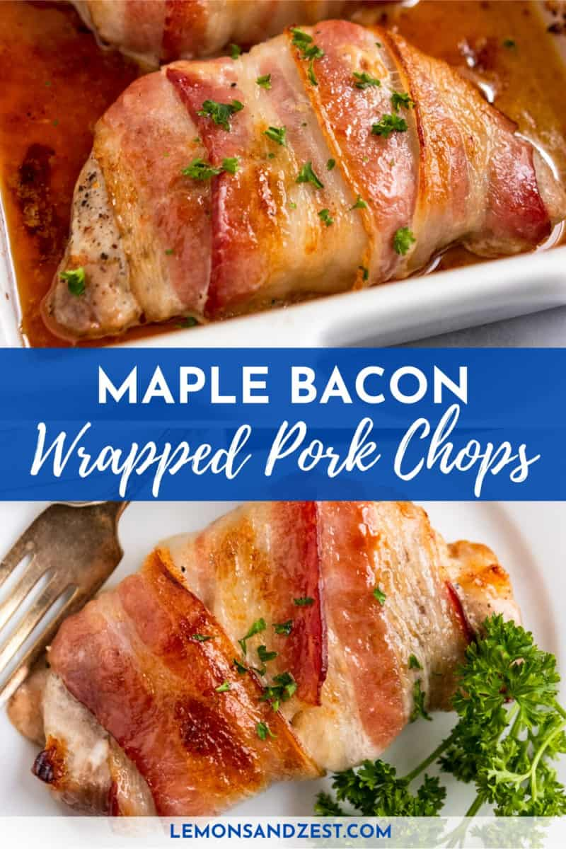 Maple Bacon Pork Chops with text overlay.