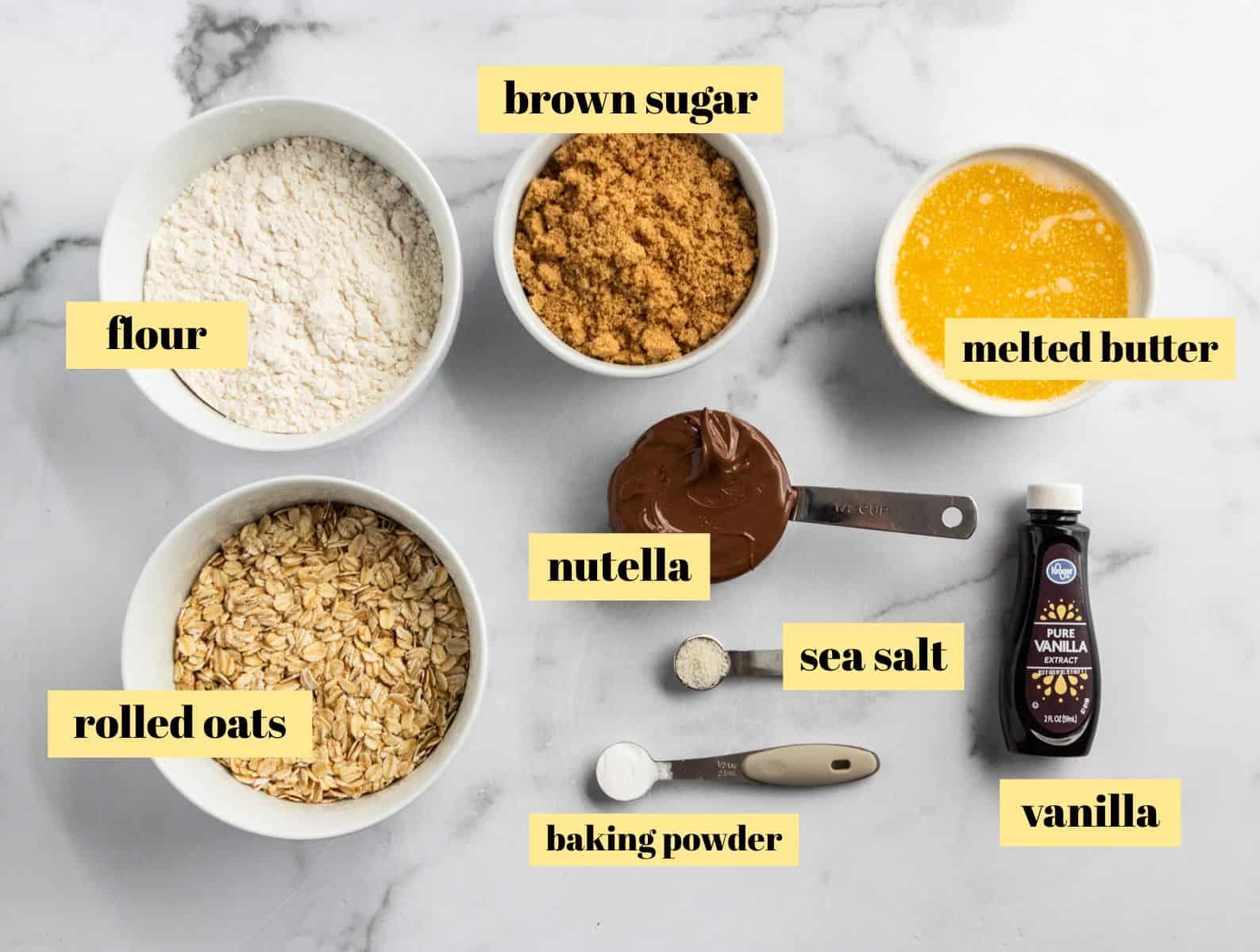 Ingredients to make Nutella Bar recipe.