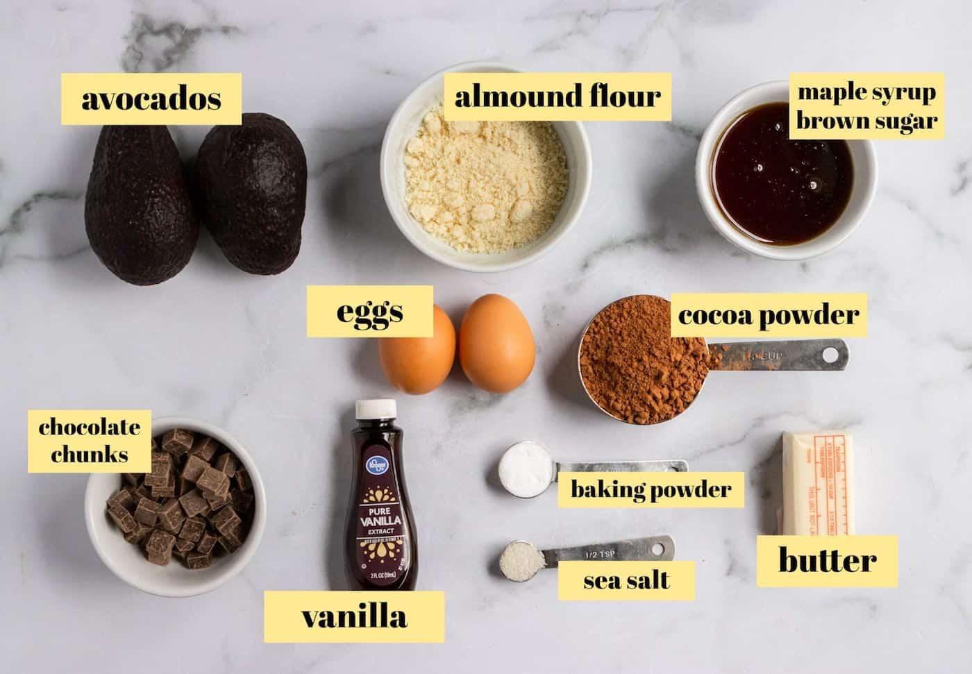 Avocado brownie ingredients with labels.