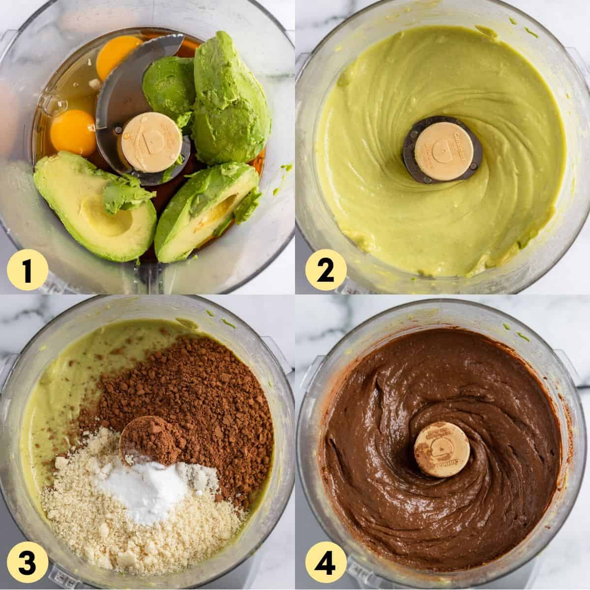 Ingredients in food processor to be blended.