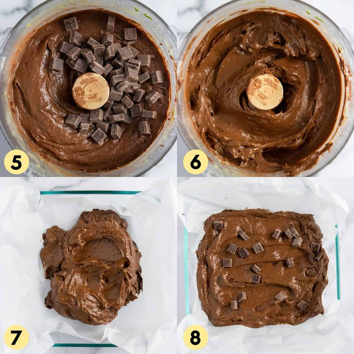 Brownie batter in food processor with chocolate chunks.